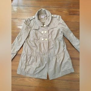 Juicy Couture Khaki Peplum Coat